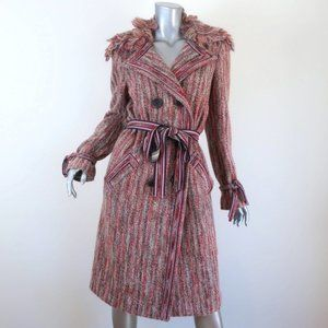 MISSONI DOUBLE BREASTED COAT PINK STRIPED KNIT